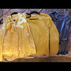 A Cabi blouse & sweater & a Bebe blouse, size S